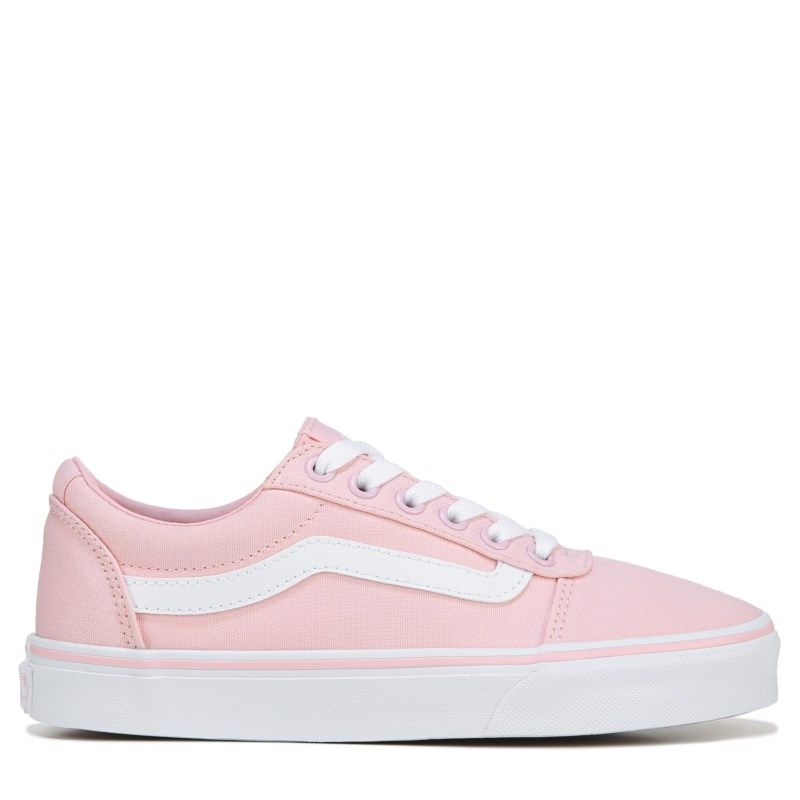 pink and white vans low top