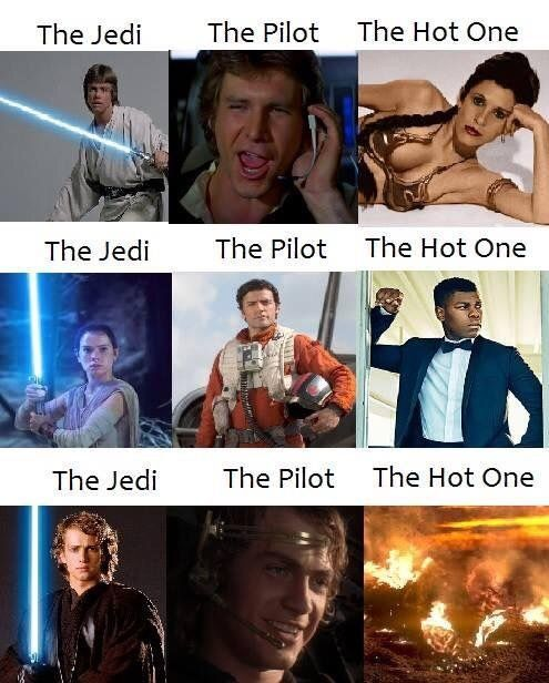 The Jedi The Pilot And The Hot One Star Wars Jokes Funny Star Wars Memes Star Wars Humor