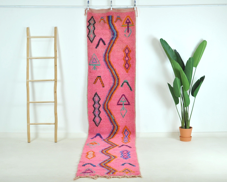 Pink Boujaad Runner Rug 3x12 Moroccan Rug Boujad Runner Rug Beni Ourain Carpet Berber Rug In 2020 Moroccan Rug Berber Rug Rug Runner