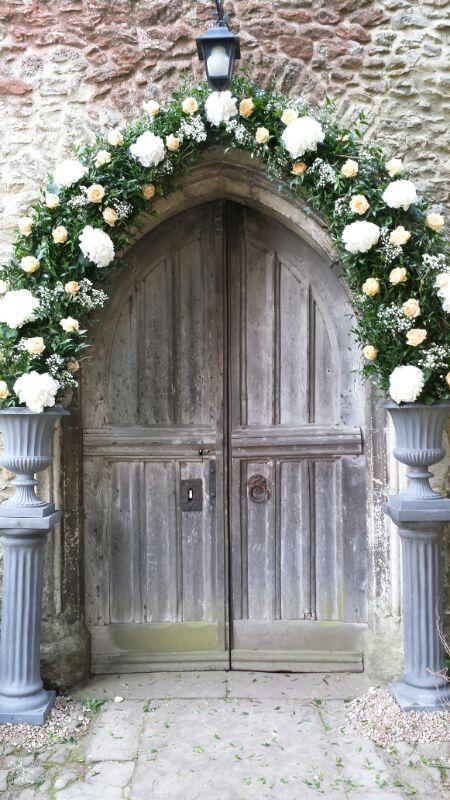 Arch Over The Church Door Inc White Hydrangea Gypsophila Peach