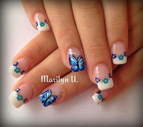 Flores Y Mariposas Uñas Bellas Nails Nail Designs Y Nails Only
