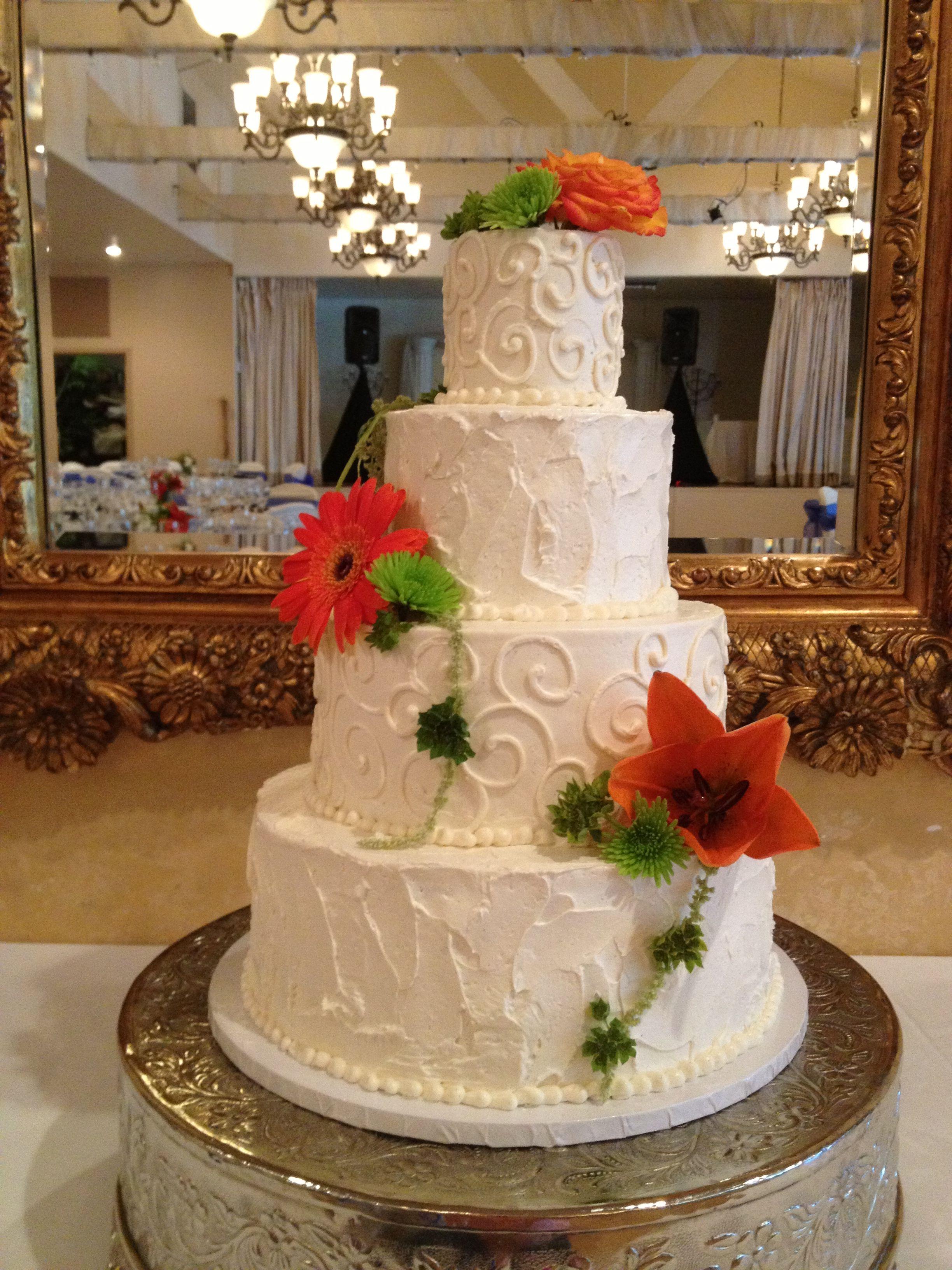 Blue and Yellow wedding dessert table Cake
