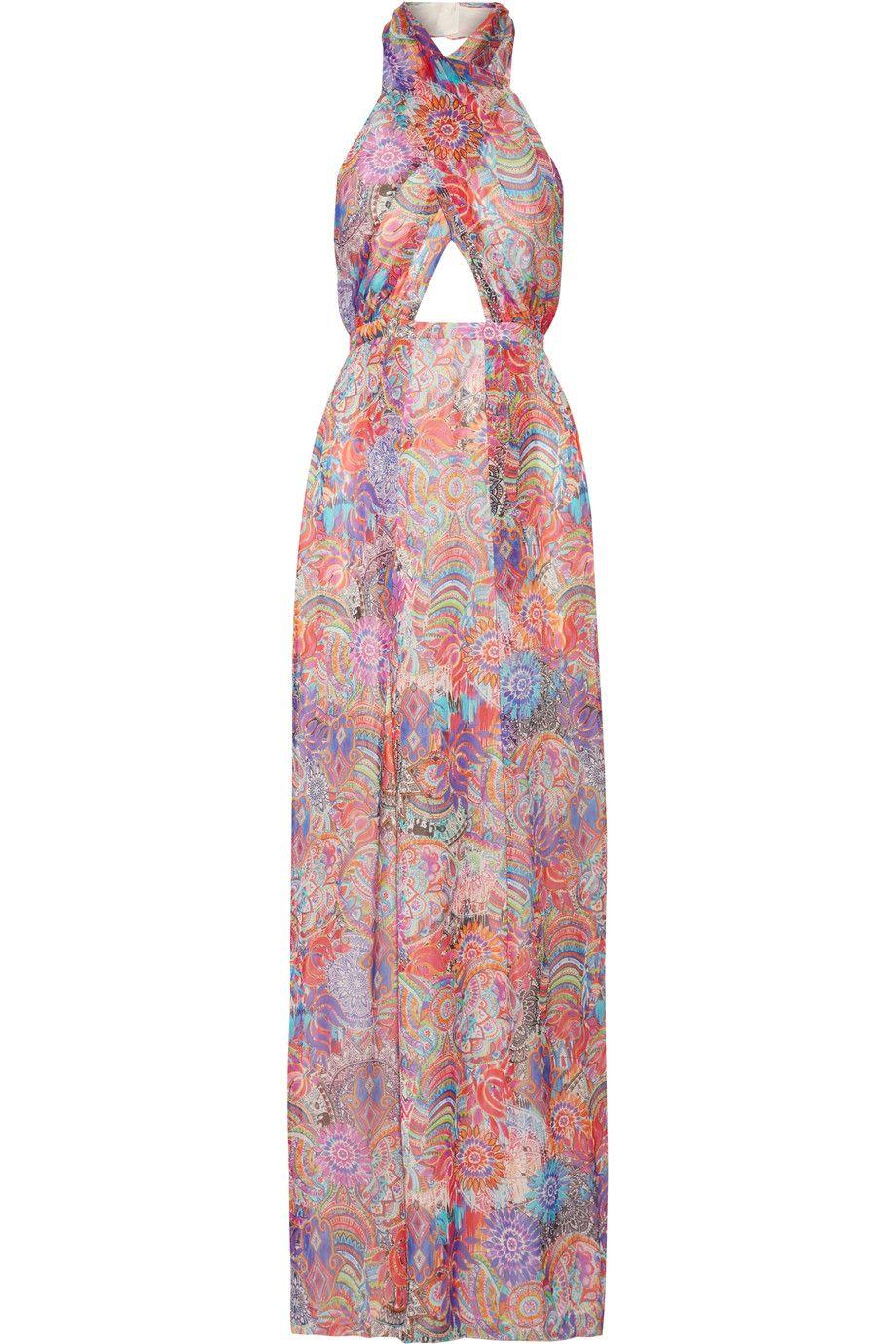 Matthew Williamson Woman Wrap-effect Printed Silk-chiffon Gown Mint Size 8 Matthew Williamson 0pUWFKdw7v