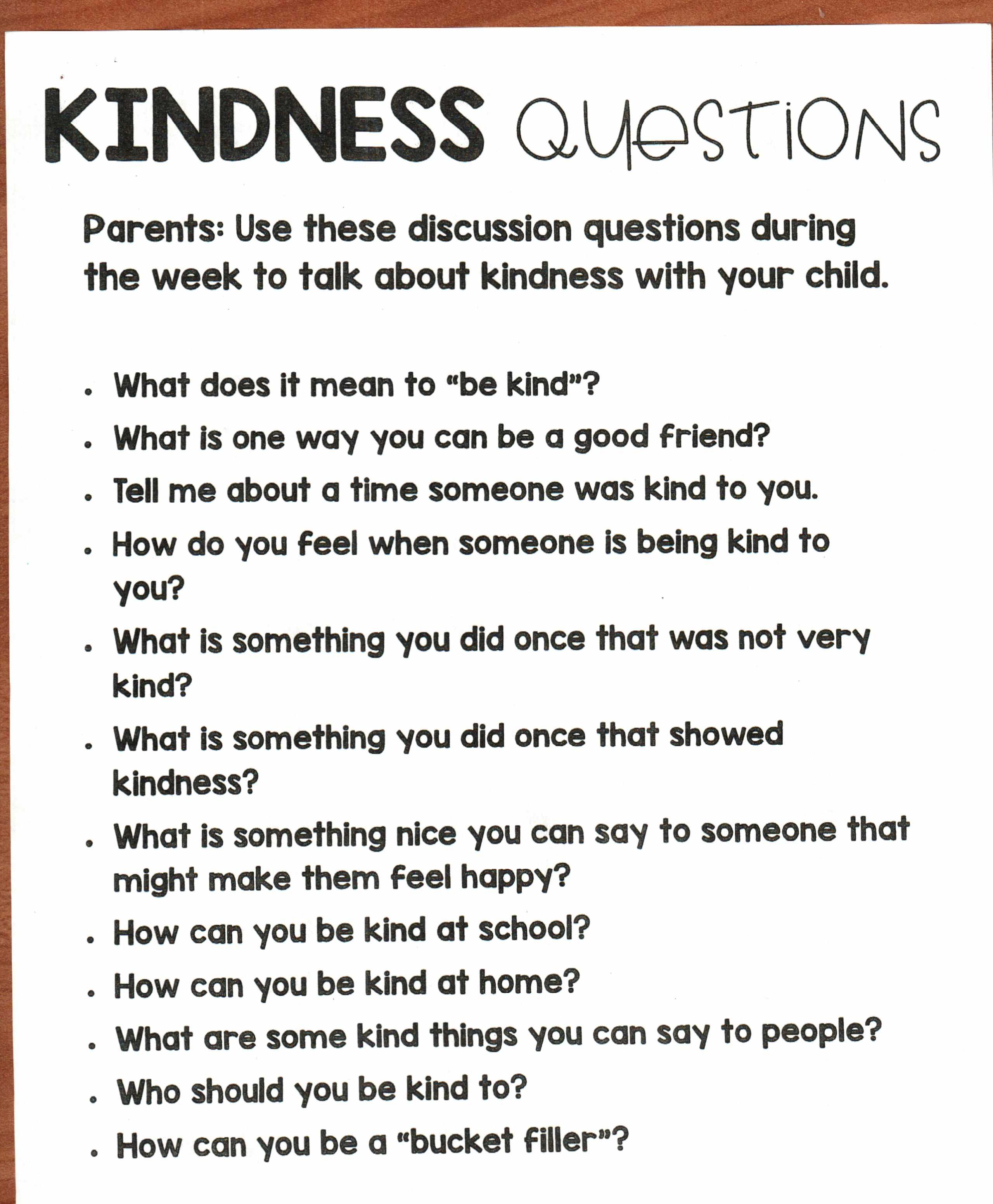 Kindness Questions Use These Discussion Questions To Talk About Kindness With Y This Or That Questions School Family Night Ideas Reading Discussion Questions