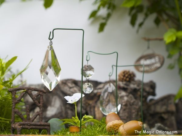 Crystal sun-catches fro your fairy garden - More enchanting photos of this magical FAIRY GARDEN on The Magic Onions Blog and FairyGardens.com