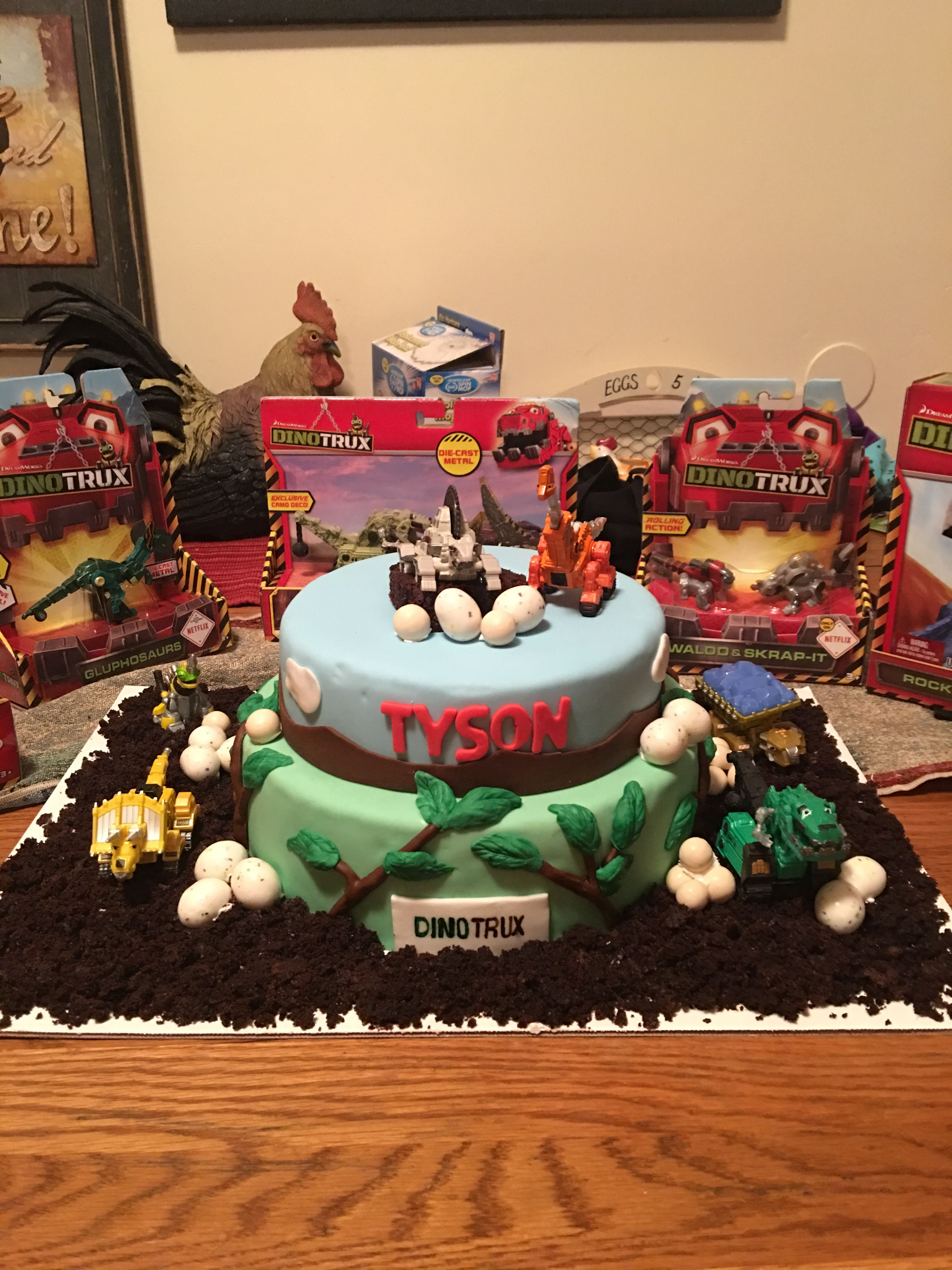 Outstanding My Sons 3Rd Birthday Cake He Is Dinotrux Obsessed Fun Birthday Funny Birthday Cards Online Alyptdamsfinfo