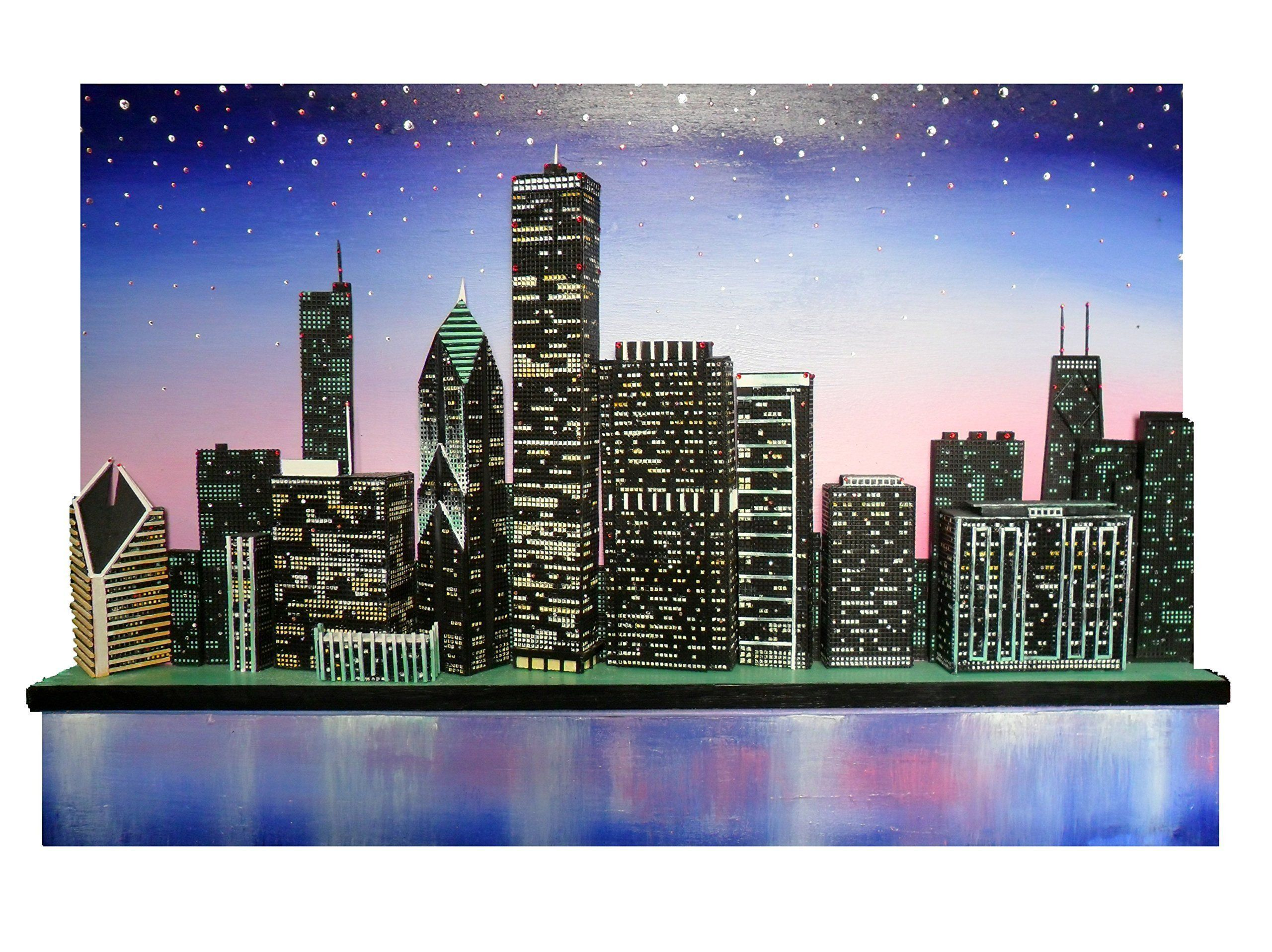 """Original Chicago Skyline 3D from the Lake Michigan View. Title: Chicago in Twilight Size:36"""" x 24"""" x 1-1/2"""""""" deep. ( add another 3-1/2"""" to the depth) Three week of intensive labor. One of a kind - Painstakingly made to scale Accurate View from Lake Michigan Over 500 hand set imported Austrian Swarvoski Crystals. Buildings are carved wood and other mixed media. Panel used in highly expensive rigid wood panel frame of the highest standards. One of a Kind Original Piece - Award Winner…"""