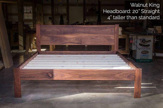 Walnut Simple Bed Platform Bed Frame Straight Etsy Platform