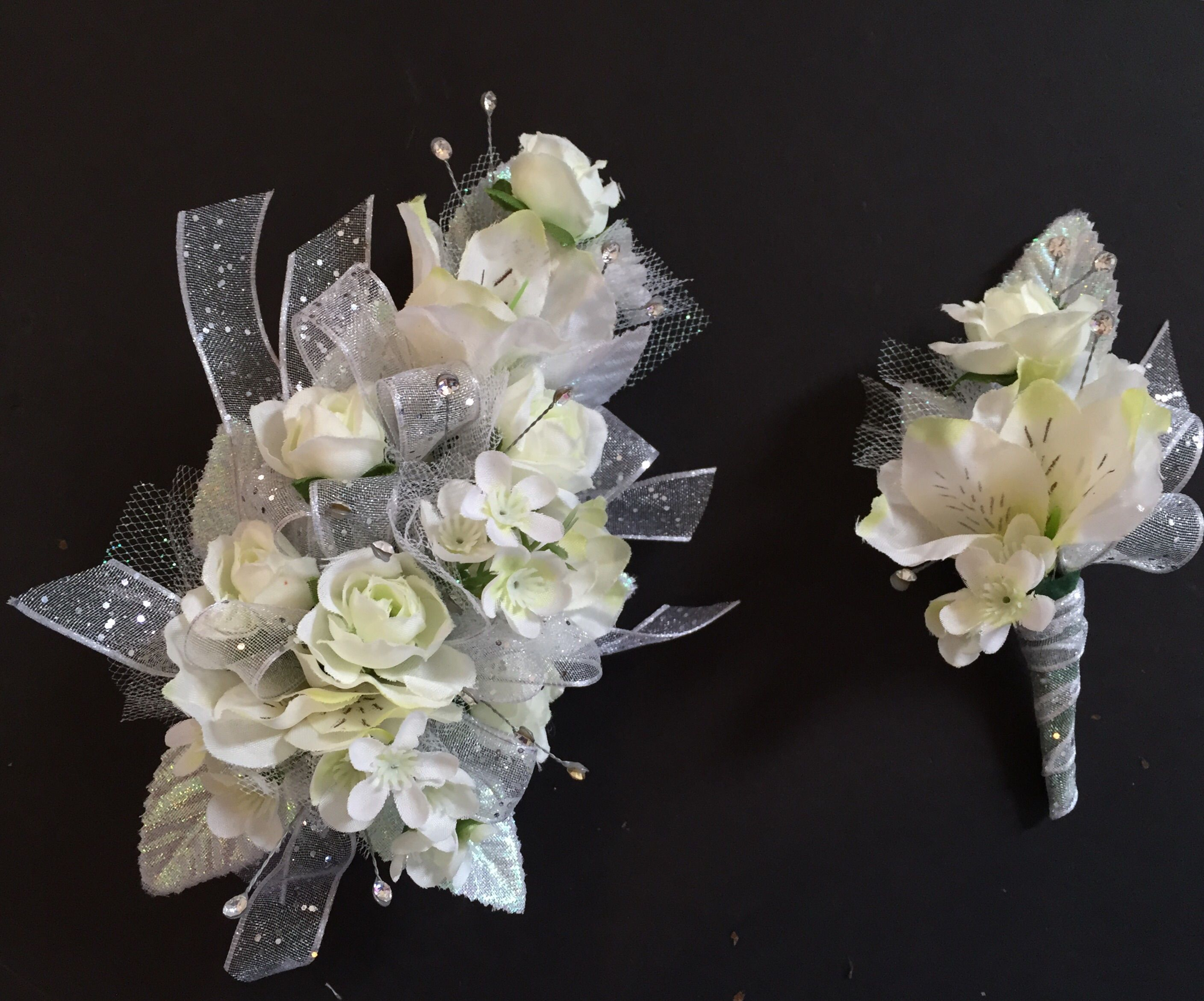 White and silver corsage and boutonniere prom pinterest silk wrist corsage boutonnire done with white spray roses white wax flower mightylinksfo