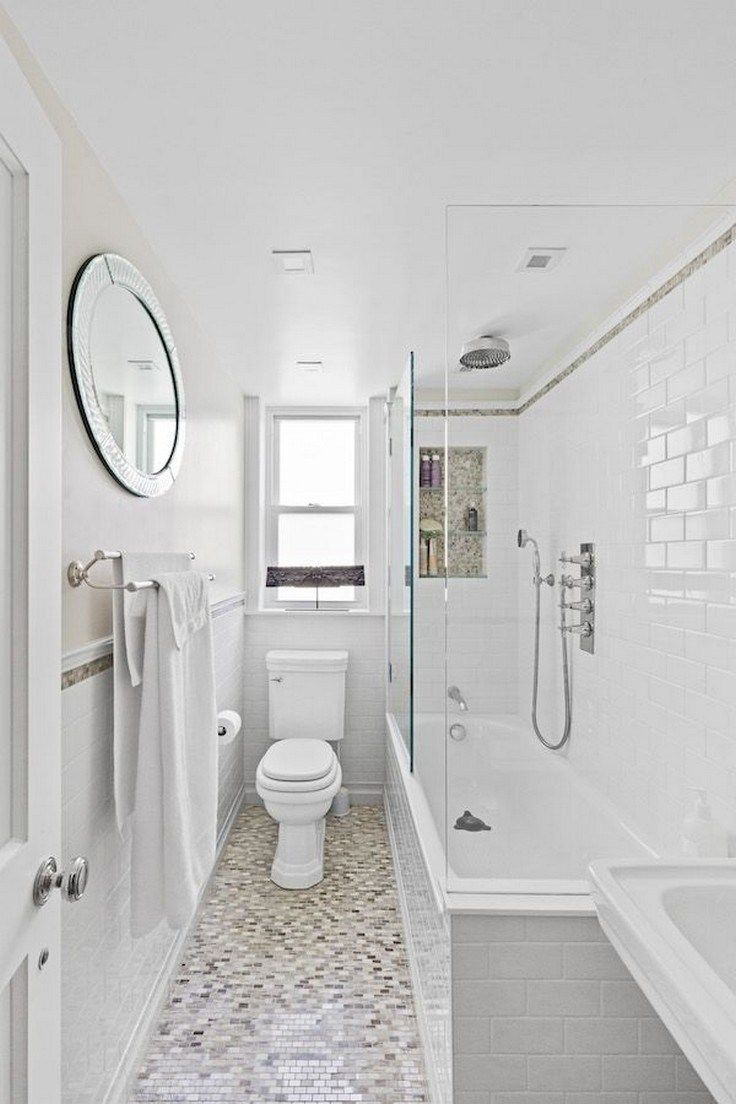 49 Modern Farmhouse Bathroom Remodel Ideas In 2020 Small Narrow Bathroom Small Bathroom With Tub Bathroom Layout