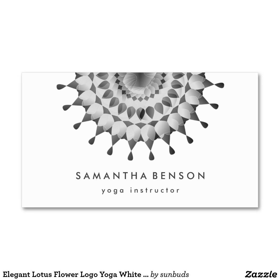 Elegant Lotus Flower Logo Yoga White Background Business Card ...