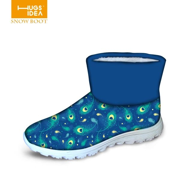 2015 Brand Autumn Women Winter Shoes Peacock Ankle Boots Low Heels Platform Blue color Fashion Waterproof Warm Rain Short Boots