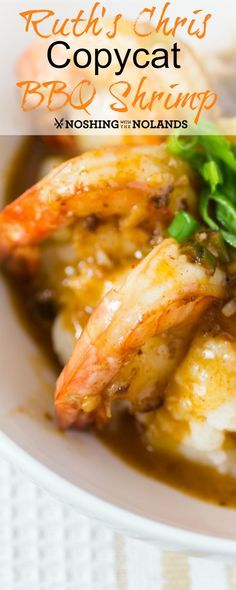 Ruth's Chris Copycat BBQ Shrimp by Noshing With The Nolands can be served as an appetizer or as part of an entree. With it's spiced butter sauce this dish will blow you away!