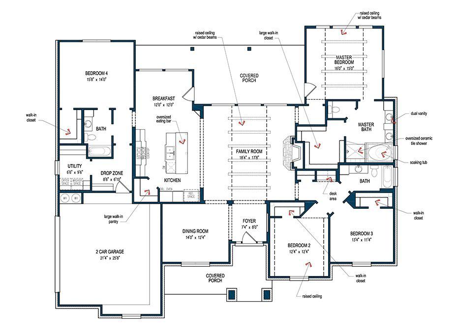 One Of Tilson S Newest Plans The La Salle Feature Custom Home Plans House Plans Dream House Plans