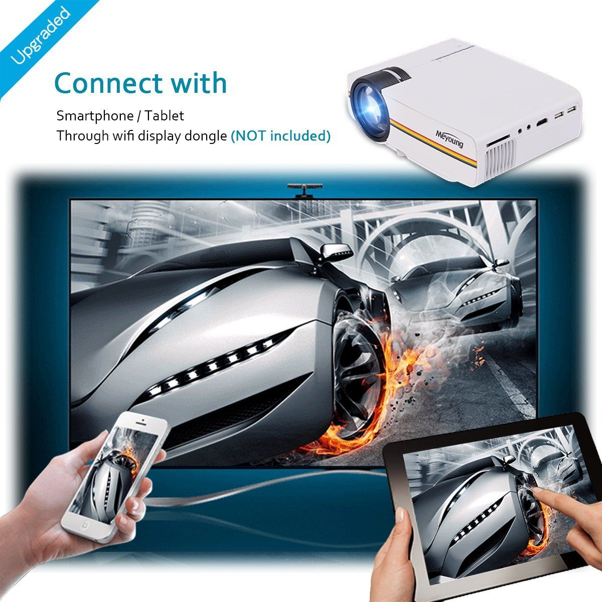 Meyoung portable projector support 1080p 1200