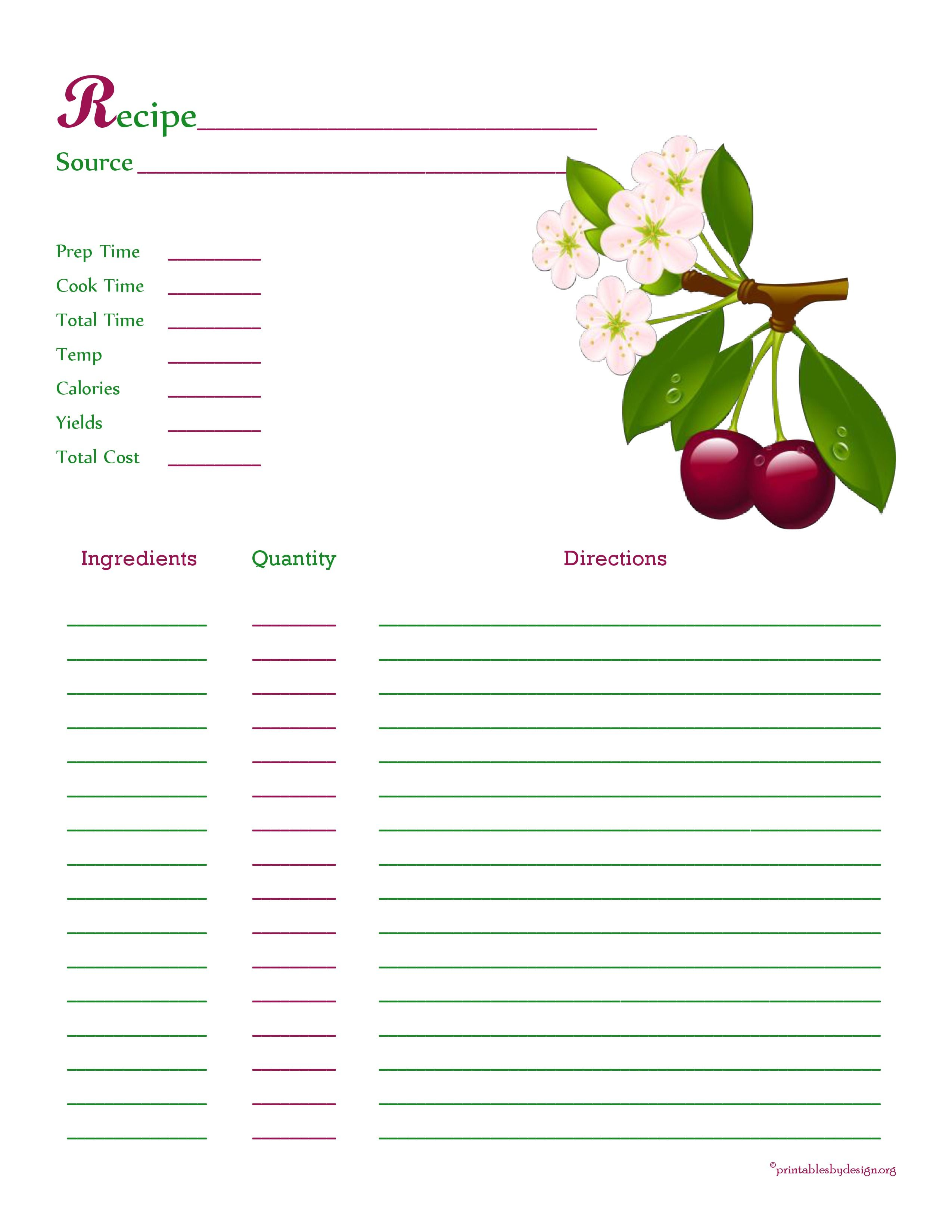 cherry recipe card full page recipe binder sheets pinterest