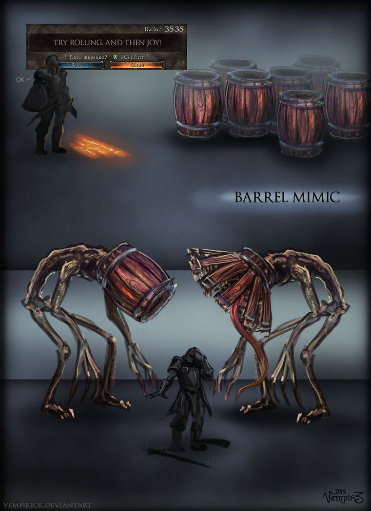 Barrel Mimic By Vempirick On Deviantart Dark Souls Art Dark Souls Dark Fantasy Art