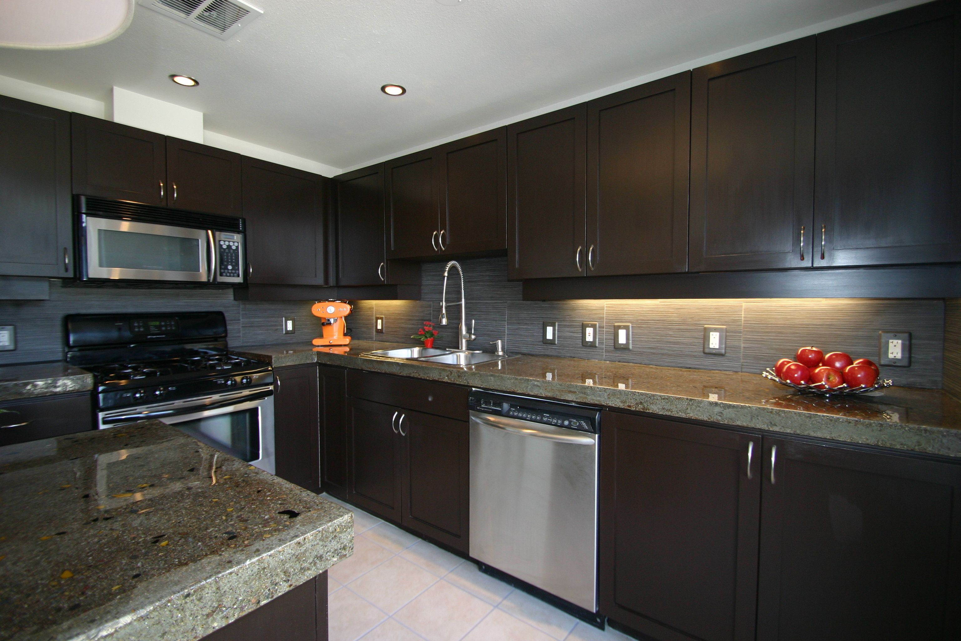 Dark Brown Cabinets With Concrete Countertop Renovations On This