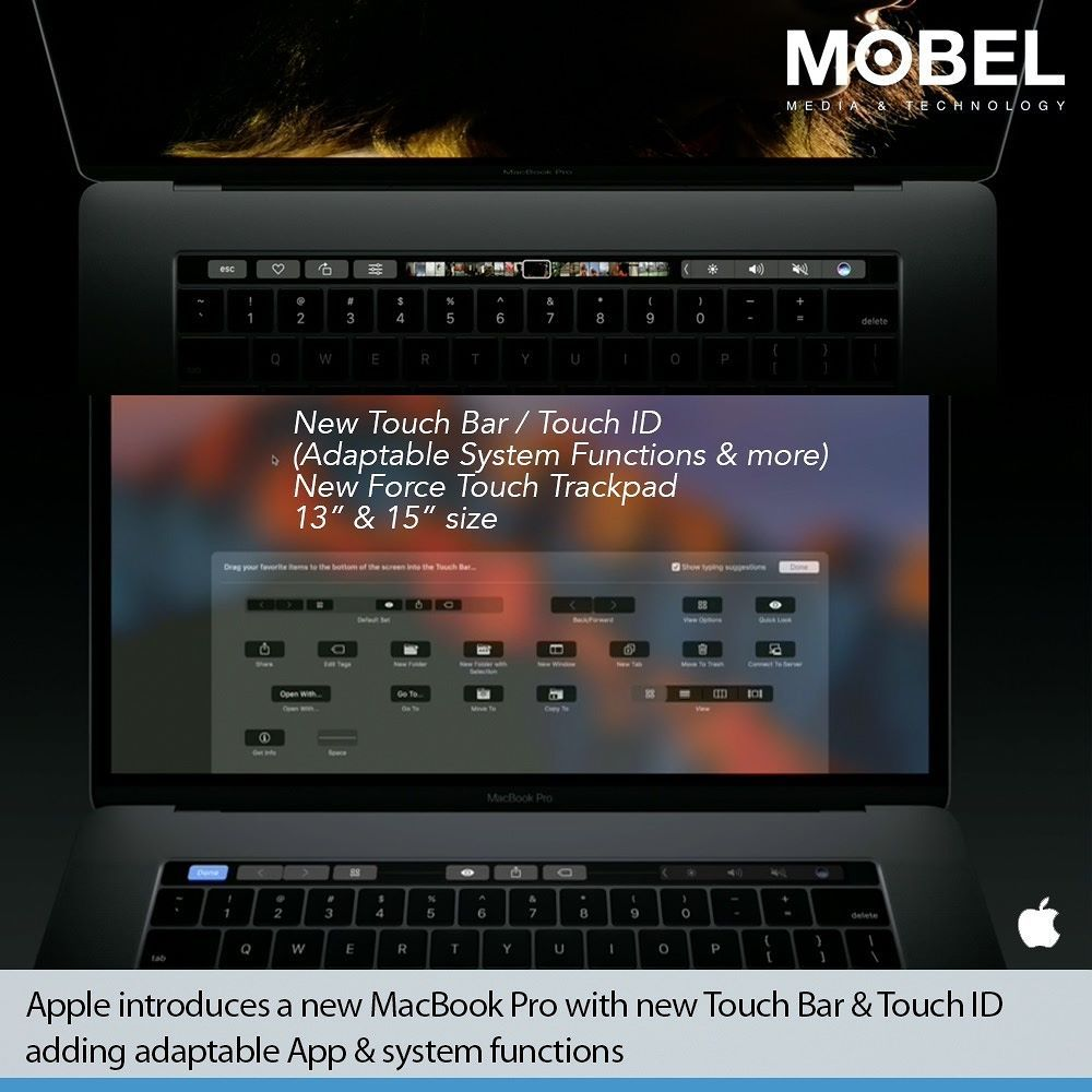 Apple introduces a new MacBook Pro with new Touch Bar & Touch ID adding adaptable App & system functions