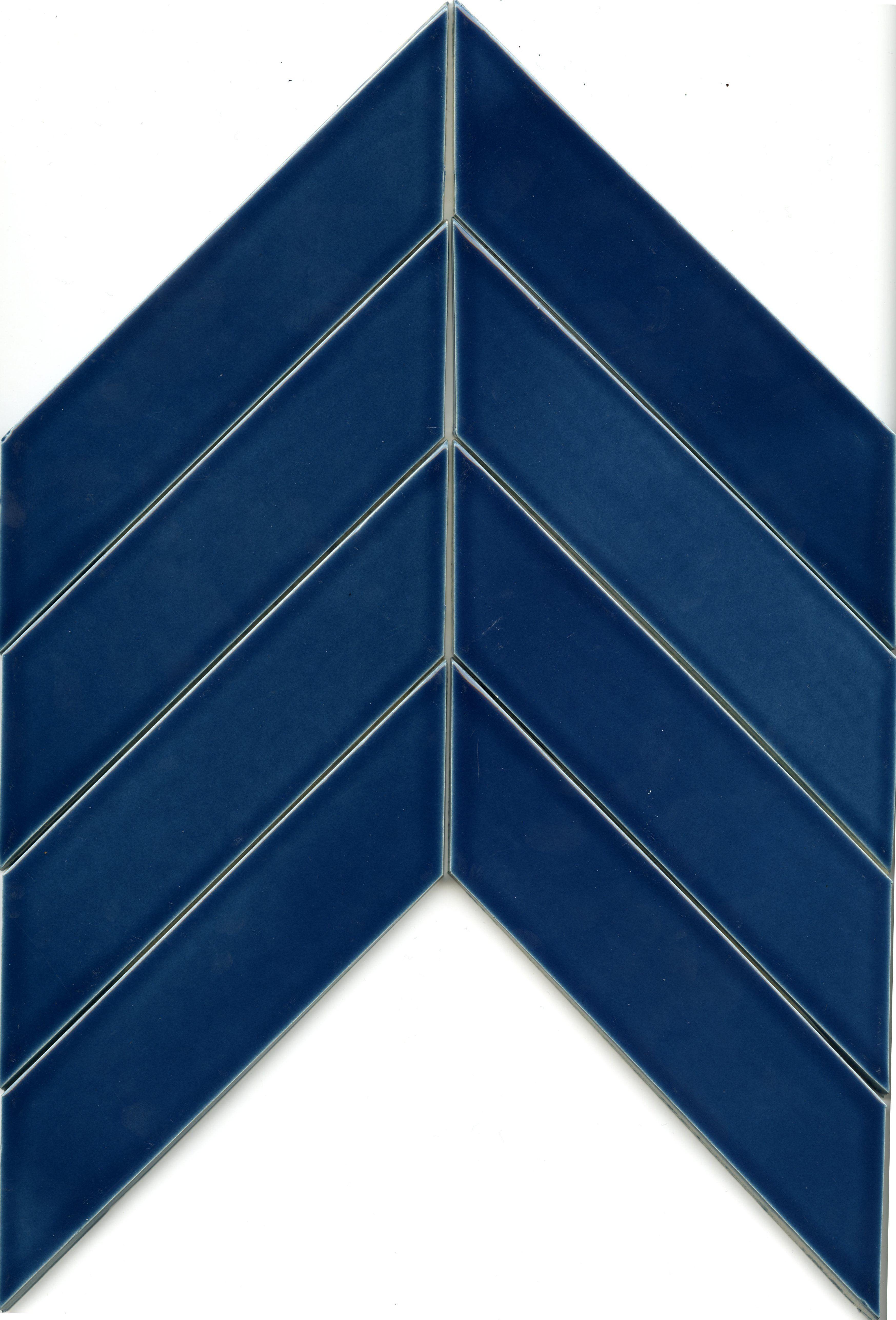 Clayhaus Ceramic 2x8 Chevron Subway Tile Caspian Blue Chevron Pattern Layout Close Up Chevron
