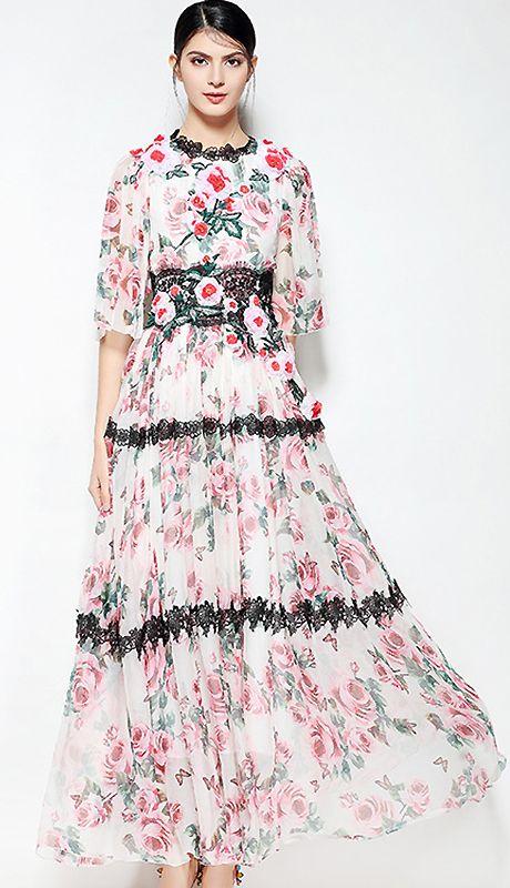 02b62dcda6 Elegant Folk Floral Lace Flare Sleeve High Waist Big Hem Print Maxi Dress
