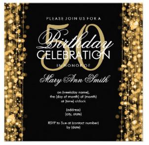 elegant 50th birthday party sparkles gold invitation in 2018
