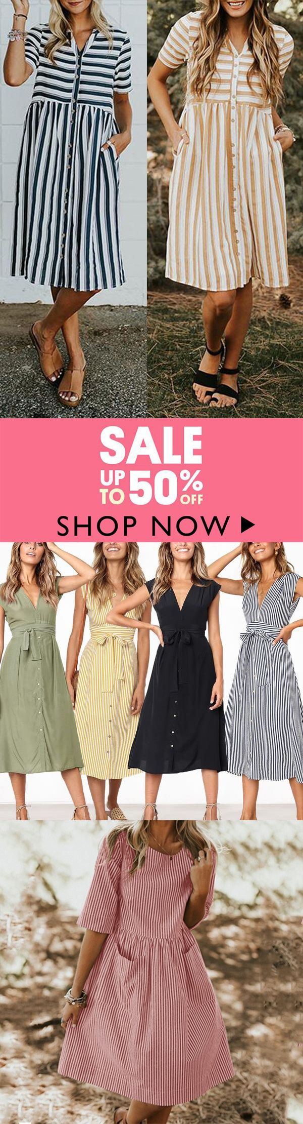 Perfect for your summer vacation !!  Casual Sweet V Neck Stripe Dresses