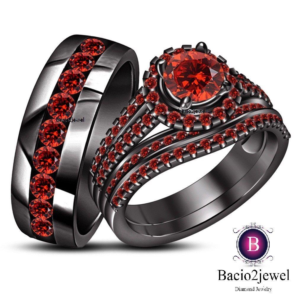14k Black Gold Garnet Trio Set His Her Matching Engagement Ring Wedding Band Bacio2jewel Black Gold Ring Wedding Ring Trio Sets Black Wedding Rings
