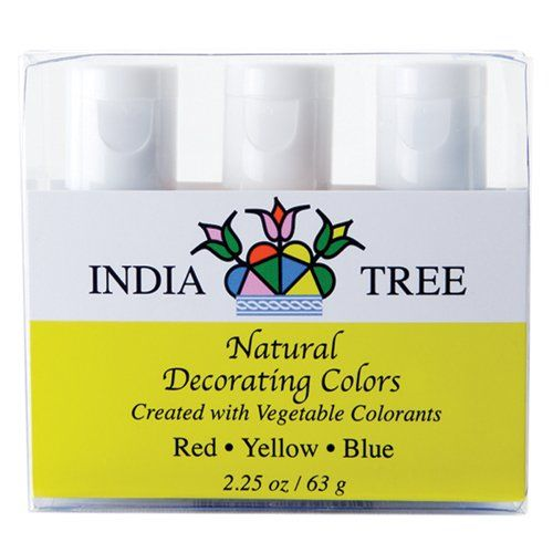India Tree Natural Decorating Colors, 3 bottles(red,yellow,blue ...