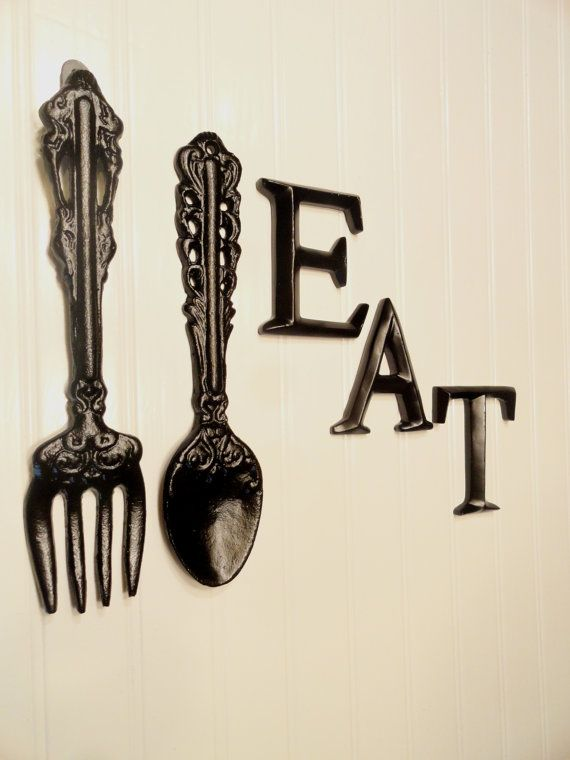 Black Kitchen Wall Decor, Large Fork Spoon Wall Decor, Eat Sign ...