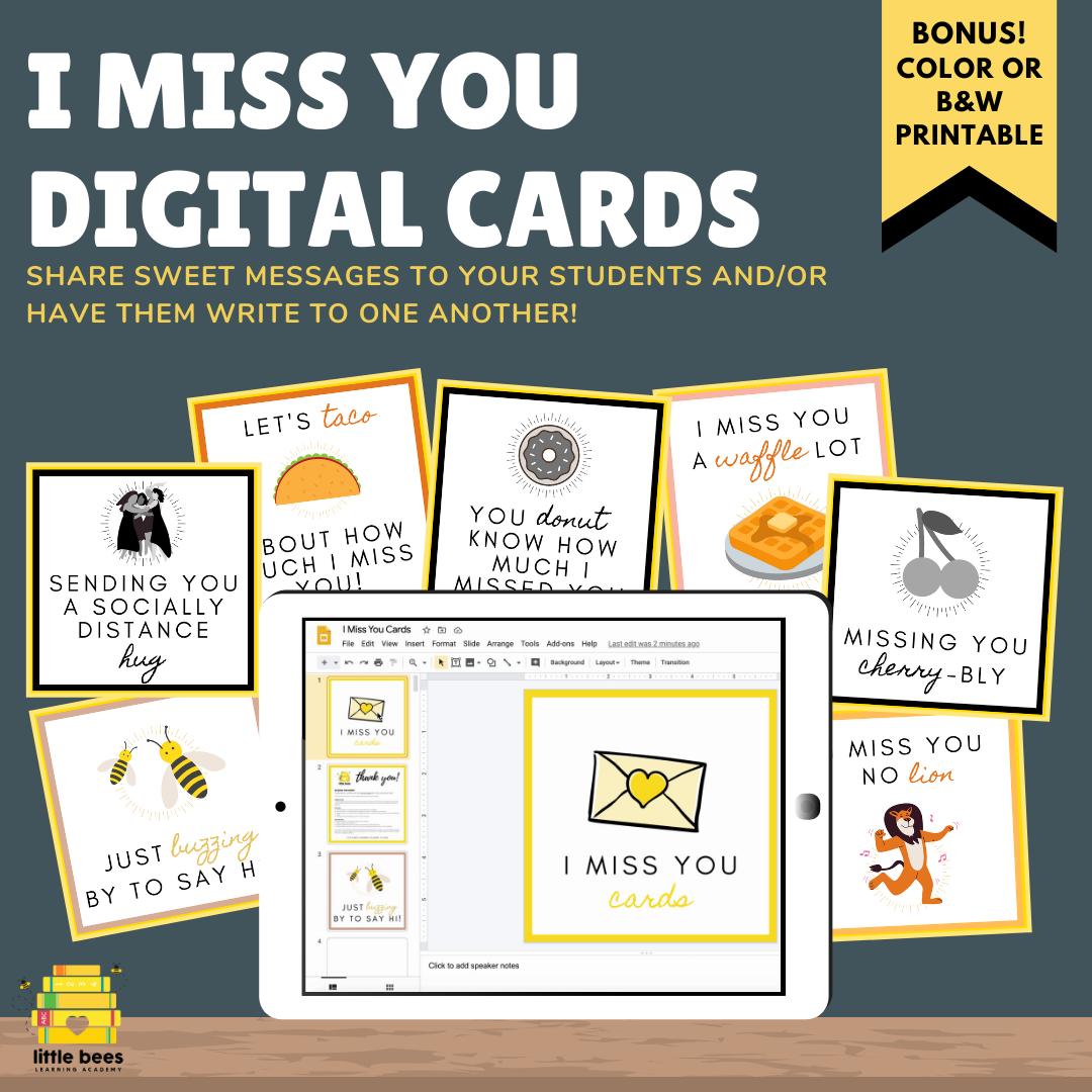Digital Miss You Note Postcards Distance Learning Google Slides Printable Miss You Cards Postcard Sweet Messages