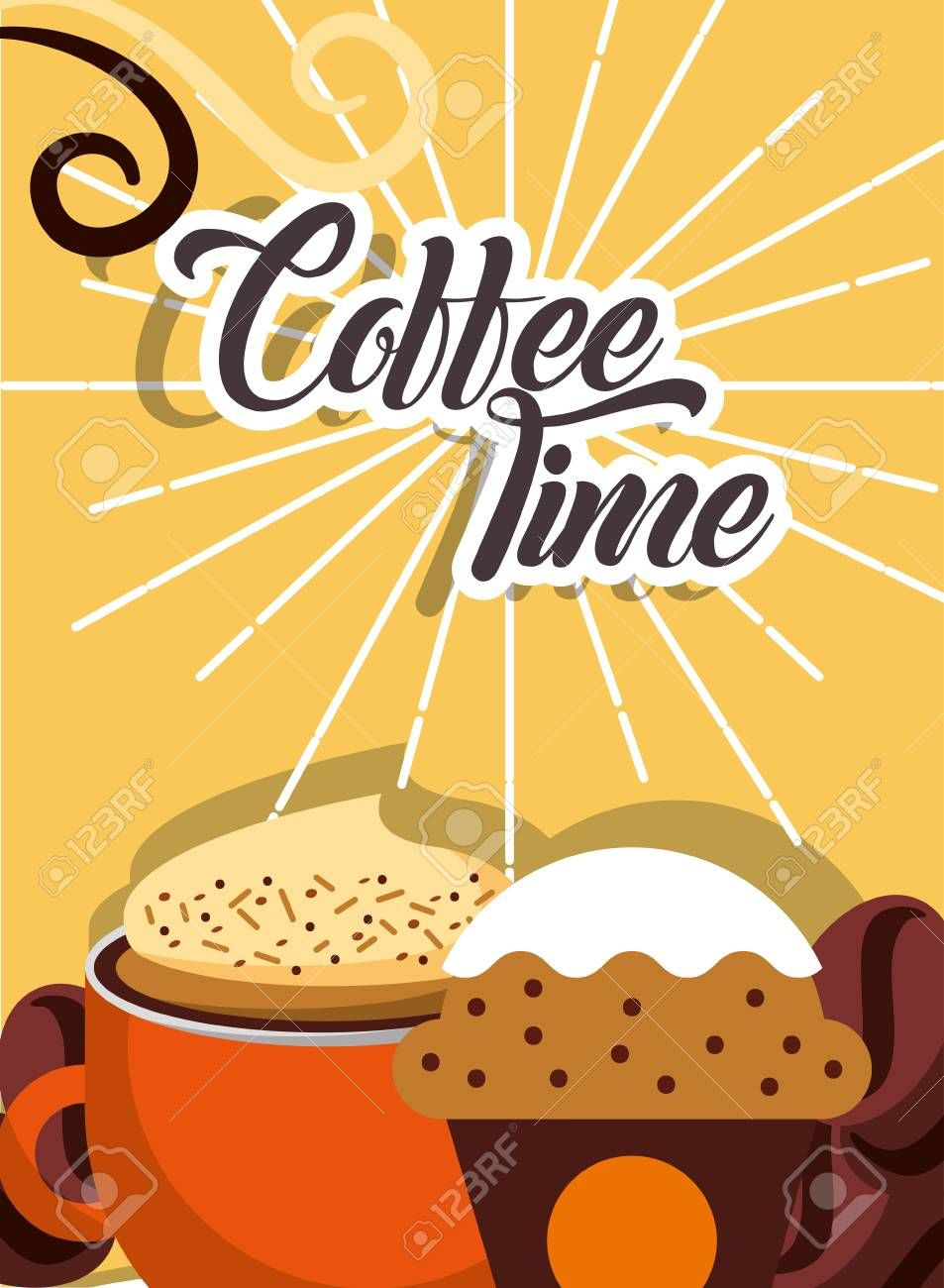 Coffee time cup hot foam beverage and cupcake retro style card vector illustration