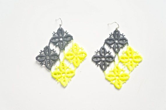 Neon Yellow and Black Lace Earrings by White Bear