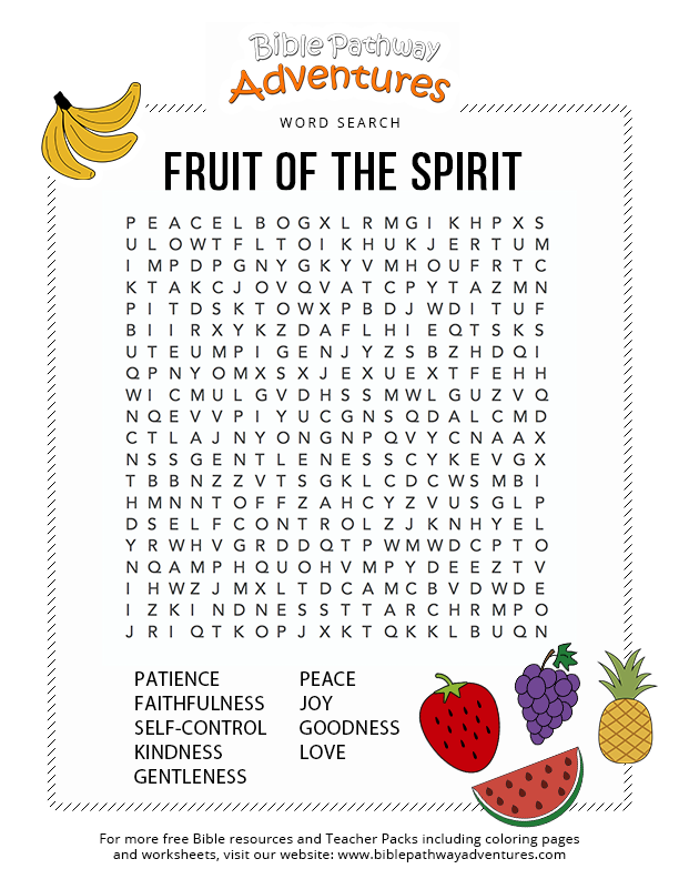 Fruit Of The Spirit Sunday School Teaching Kids Sunday School Lessons Bible Word Searches