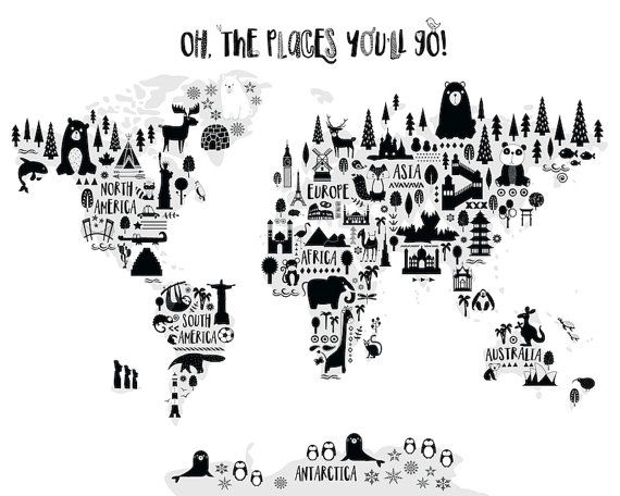 Animal world map print monochrome nursery world map oh the places cuadro gumiabroncs Gallery