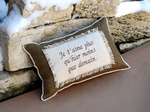 Burlap Pillow Home Decor French Love Quote Romantic Anniversary