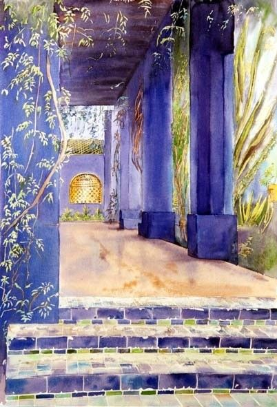 Maroc Majorelle Tonnelle Bleue Peinture C 2000 Par Catherine