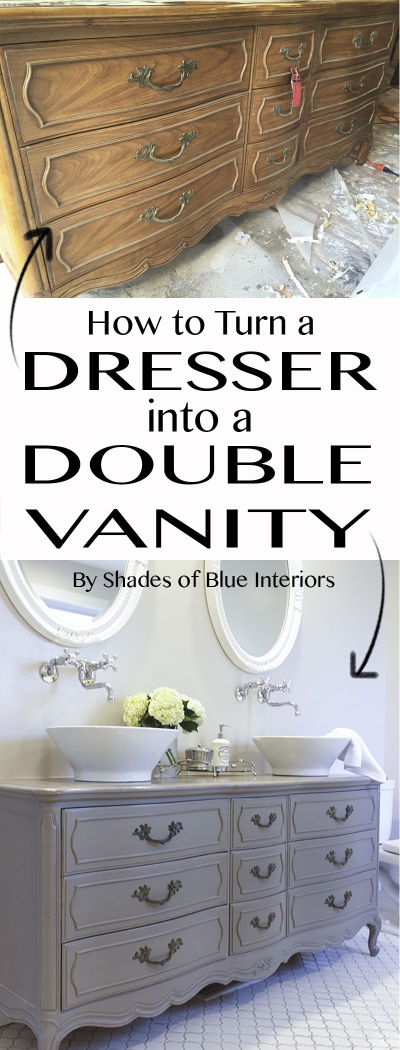 How To Turn A Garage Into A Bedroom: How To Turn A Dresser Into A Double Vanity