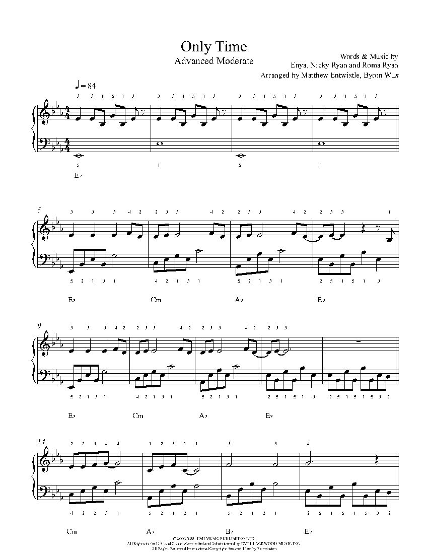 Only Time By Enya Piano Sheet Music Advanced Level