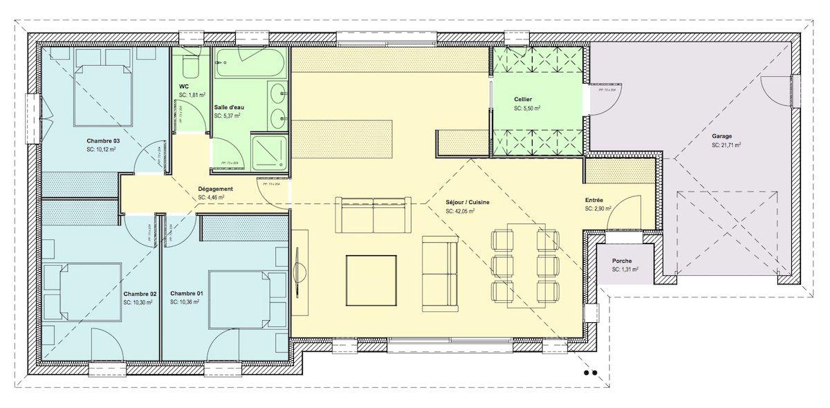 Maison de 3 cubes avec différentes hauteurs, parties en briques - plan de maison sur terrain en pente