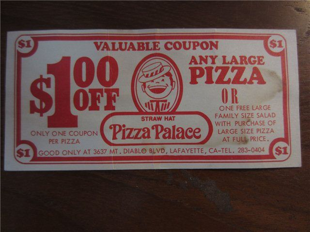 Vintage Straw Hat Pizza Palace Coupon 1 The Old Straw Hat Pizza