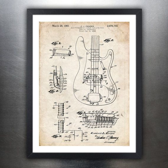 Fender Precision Bass Guitar 1961 Patent Print Poster Decor Gift Unframed