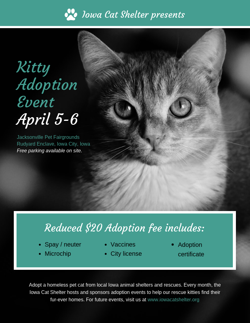 Nonprofit Cat Adoption Event Poster Template In 2020 Event Poster Template Poster Template Event Poster