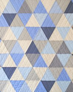 Blue and Gray Equilateral Triangles Crib Quilt