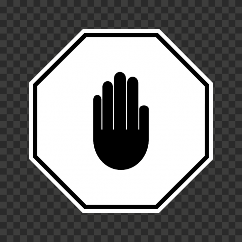 Hd White And Black Stop Hand Sign Icon Symbol Png Symbols White And Black Signs