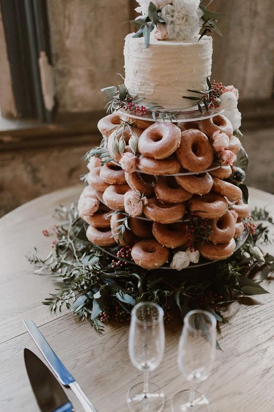 Photo of Donut wedding cakes green and floral toppers rustic weddings country weddings …