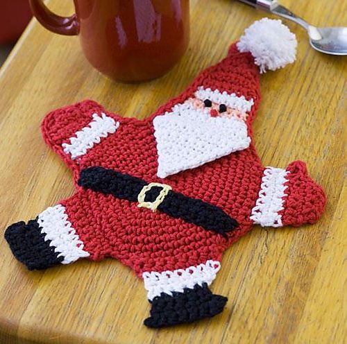 Santa Claus Pot Holder Ravelry Free Pattern Crochetknit