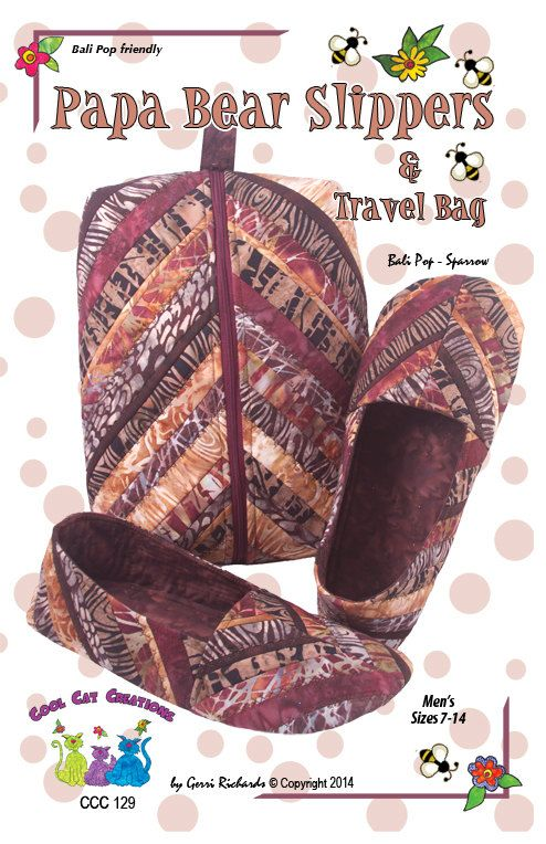 Papa Bear Slippers Travel Case Pattern Quilted Slippers And Etsy Bear Slippers Mens Travel Bag Papa Bear