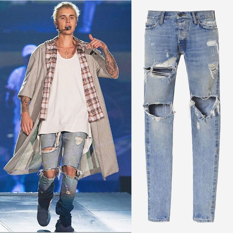 11d66abd0f Cheap Hombre de mezclilla mono ropa diseño rock star justin bieber tobillo  de la cremallera flaco ripped jeans para hombre miedo de dios pantalones  casuales ...