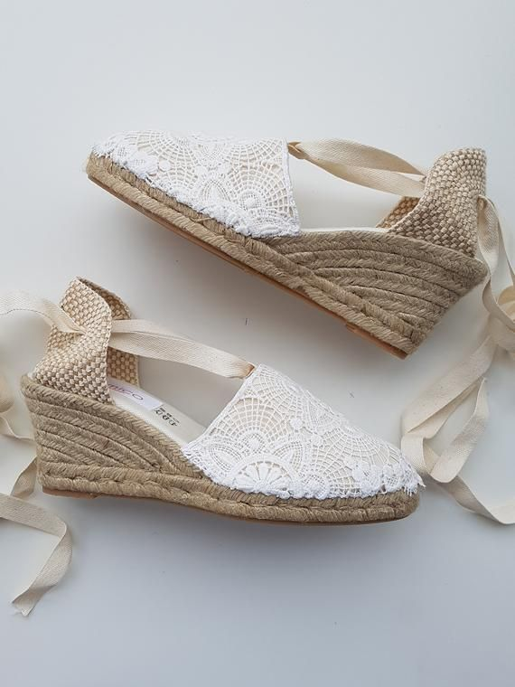 c963d0b1e Lace-up espadrille wedges - BRIDES COLLECTION - LACE - made in spain - www